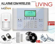 ALLARME ANTIFURTO WIRELESS DISPLAY LCD GSM LIVING 2 + SIRENA INTERNA CASA GARAGE