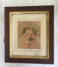 Vintage Victorian Girls Kissing Framed Art