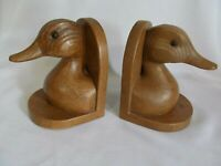 OLD VINTAGE WOODEN ?? STYLE DECOY DUCK HEAD BOOKENDS HEAVY