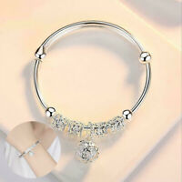 Fashion Women Jewelry 925 Silver Plated Cuff Bracelet Charm Gift New Bangle