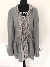 Myrine and Me Ruffle Jacket Size M Grey Lagenlook Boho Victorian Romantic Coat