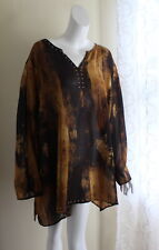 NWT Catherines -Sz 4X Black Label Lux Art-to-Wear Copper Long Tunic Shirt Top