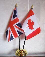 UNION JACK & CANADA TABLE FLAG SET 2 flags plus GOLDEN BASE CANADIAN BRITAIN