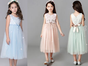 Girls lace Dress Flower Pageant dress Formal Party Wedding Bridesmaid dresses