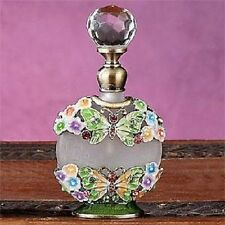 Bejeweled Butterfly & Flower Perfume Bottle Fragrance oil Container Decoration