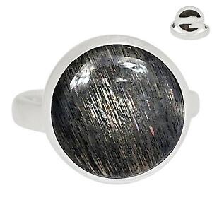 Adjustable - Black Sunstone 925 Silver Pendant Jewelry Ring s.8 ALLR-371