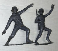"2 LOT Vintage 1963 Marx Toys German ARMY Soldiers 6"" GRAY Figure Missing Grenade"