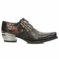 NEWROCK New Rock 7960-S5 Black Vintage Red Flower Leather West Steel Ankle Boots