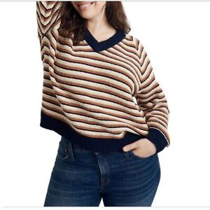 MADEWELL V-Neck Crop Pullover Sweater in Stripe PLUS SIZE  2X 119$