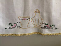 Vintage Linen Tea Towel Hand Embroidered Crochet
