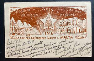 1916 Malta Prisoner of War POW Christmas Postcard cover to Galicia Germany WW1