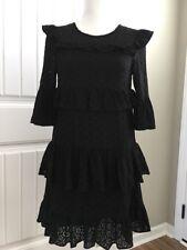 New Madewell Eyelet Waterlily Ruffle Dress Black Sz 0 H2969