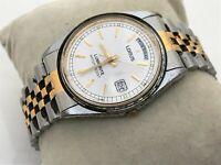 Lorus Lumibrite Watch Vintage Wrist Watch Day Date Calendar Silver/Gold Tone WR