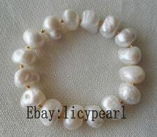 schöne große 12-14mm weiße barocke Süßwasser perle elastisches Armband 8 Zoll