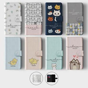 Tirita Personalised Wallet Flip Case for Samsung S10 S9 S8 Kawaii Cats Cartoon