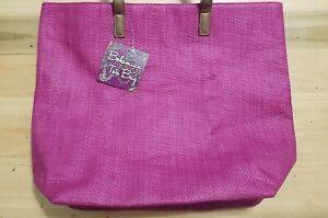 Brentwood Beauty Laboratories Purple Paisley Interior Beach Bag Handbag Tote NWT