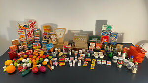 Vintage Miniature Grocery Items , Kids Play Shop Real Food Packaging Casdon Till
