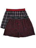 Hanes Mens 2-Pack Black & Red Plaid Flannel Boxer Shorts