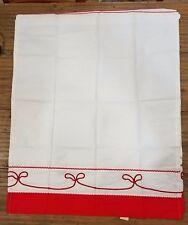 """(K-932) Vintage Kitchen RV Camper Curtains 28 x 36"""" White w Red Detail Panels"""