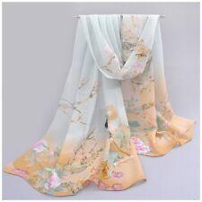 destockage foulard écharpe neuf mousseline de soie beige vert oiseaux