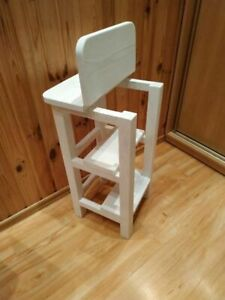 Wooden Kitchen Ladder White Stool Handmade Furniture Bar Three Step Compact Old
