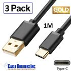 3 PACK USB TYPE C CHARGER CABLE 1M FAST CHARGE CORD A to C for TYPE C DEVICES