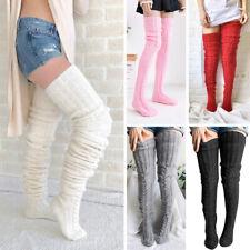 Women Long Warm Knitted Stocking Striped Over Knee Length Winter High Boot Socks