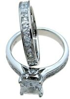 White Gold /.925 Sterling Silver Princess cut Diamond 2pc Engagement Ring Set