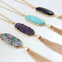 Women's Fashion Big Oval Abalone Druzy Stone Tassel Pendent Necklace Chain Long