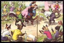 Dressed Animals CATS WRESTLING Fight ANTHROPOMORPHIC. Orig.Vtg Postcard MAINZER