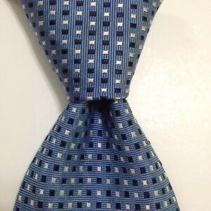 ERMENEGILDO ZEGNA Men's Silk XL Necktie ITALY Designer Geometric Blue/White GUC