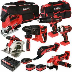Excel 18V 7 Piece Cordless Power Tool Kit + 3 x Batteries, Charger & Bag EXL5045