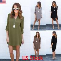 Women V Neck Chiffon Long Sleeve Ladies T Shirt Casual Loose Short Dress Tops