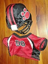 Build a Bear Football Uniform: Red Jersey, Black Helmet Set