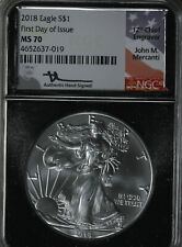 2018 First Day of Issue - John M. Mercanti Signed $1 Silver Eagle NGC MS70!