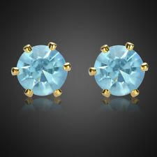 Fashion Jewelry Lady Round Cut Aquamarine Yellow Gold Plated Stud Ring Earrings
