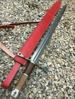 New Custom Handmade Damascus Steel Cross Sword With Burl Wood Handle