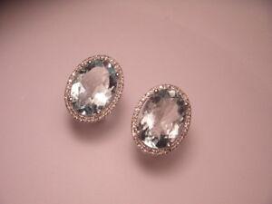 Magnificent 18K White Gold Diamond Aquamarine Huggie Earrings