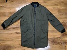 Zara Khaki Green Long Bomber Parka Jacket Size Small with Text on Back and Arm
