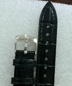 Original Rolex Black Color 18mm Cellini Moonphase Leather Band For Rolex Watches