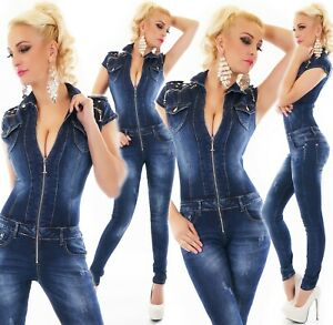 Women's Jeans Overalls Trousers Jumpsuit Skinny Jeans Zip Studs XS-XL