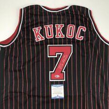Autographed/Signed TONI KUKOC Chicago Black Pinstripe Basketball Jersey BAS COA