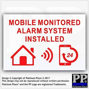 1 MOBILE Monitored Alarm System Installed-External Sticker-Warning Security Sign