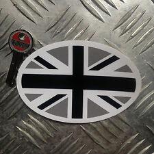 NERO union jack ovale adesivo auto / 110mm wide x 70mm alta bandiera britannica
