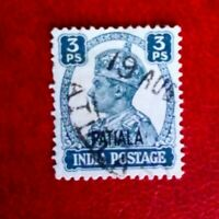 KGV1 POSTAGE STAMP INDIA 3PS  PATIALA USED