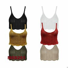 Ladies Stylish Deep Round Neck Crochet Cami Bralet Bra Cable Knitted Crop Top
