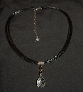 SILPADA - N1494 - Faceted Quartz Pendant Multi-Strd Black Leather Necklace - RET