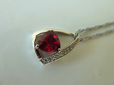 925 Sterling silver Pendant/necklace/chain (Ruby), Quality AAAAA grade CZ stone