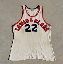Vtg 40s 1950s Lewis & Clark College Basketball Jersey Sand Knit Portland Oregon