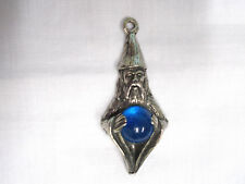 OLD WIZARD IN CAP & ROBE w BLUE CRYSTAL BALL MERLIN MYTH PEWTER PENDANT NECKLACE